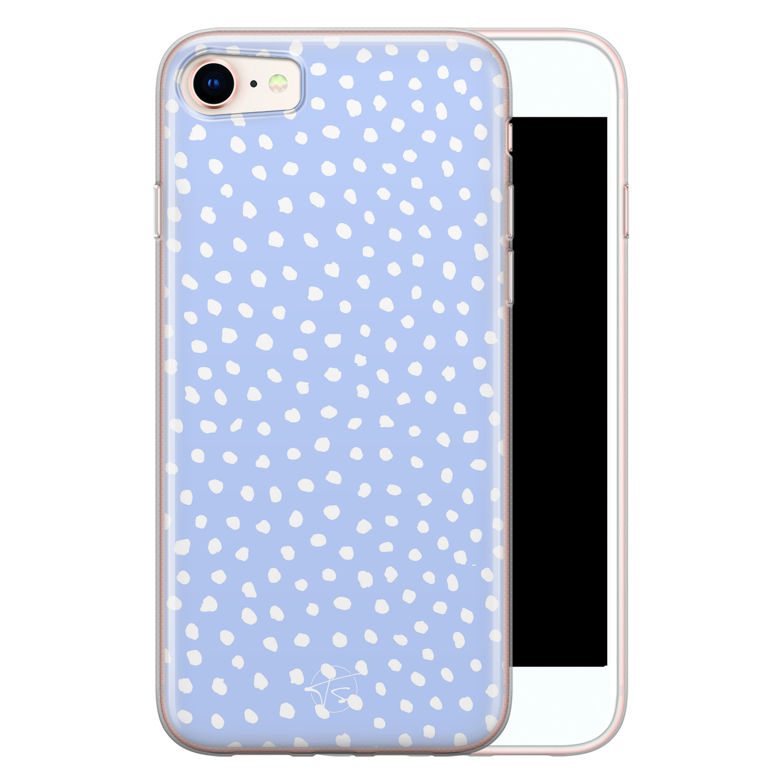 Telefoonhoesje Store iPhone SE 2020 siliconen hoesje - Lila stippen
