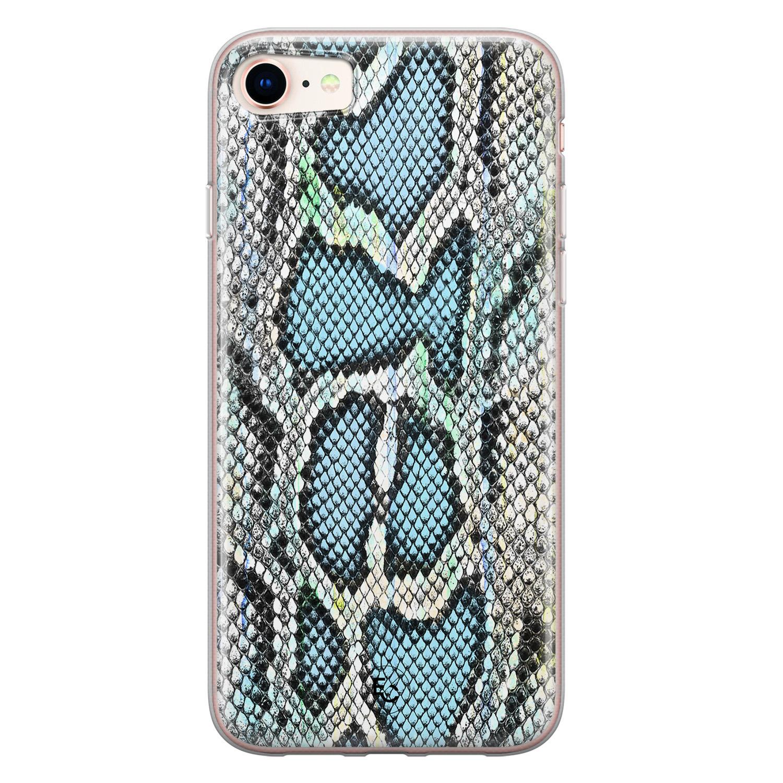 ELLECHIQ iPhone SE 2020 siliconen hoesje - Baby Snake blue