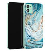 Telefoonhoesje Store iPhone 11 siliconen hoesje - Marmer blauw goud