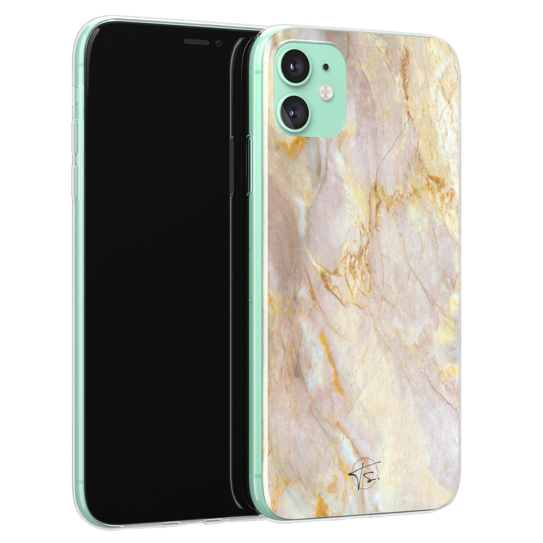 ELLECHIQ iPhone 11 siliconen hoesje - Stay Golden Marble