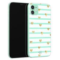 Telefoonhoesje Store iPhone 11 siliconen hoesje - Mint hartjes