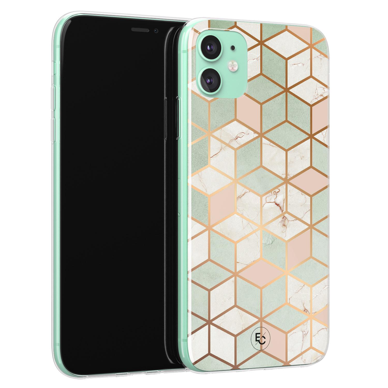 ELLECHIQ iPhone 11 siliconen hoesje - Pastel Kubus