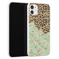 Leuke Telefoonhoesjes iPhone 11 siliconen hoesje - Luipaard flower print
