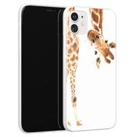 Leuke Telefoonhoesjes iPhone 11 siliconen hoesje - Giraffe peekaboo