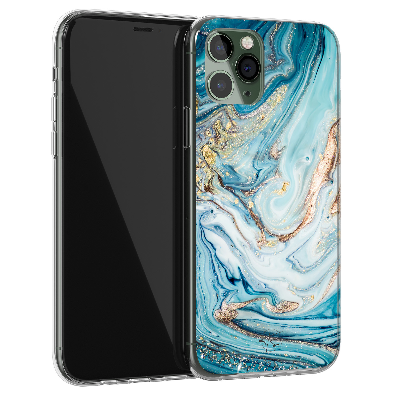 Telefoonhoesje Store iPhone 11 Pro siliconen hoesje - Marmer blauw goud