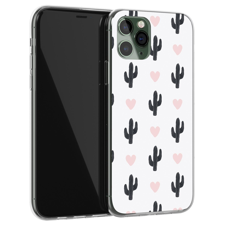 Leuke Telefoonhoesjes iPhone 11 Pro siliconen hoesje - Cactus hartjes