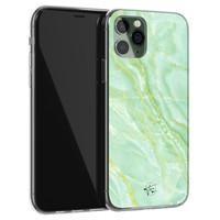 Telefoonhoesje Store iPhone 11 Pro siliconen hoesje - Marmer Limegroen