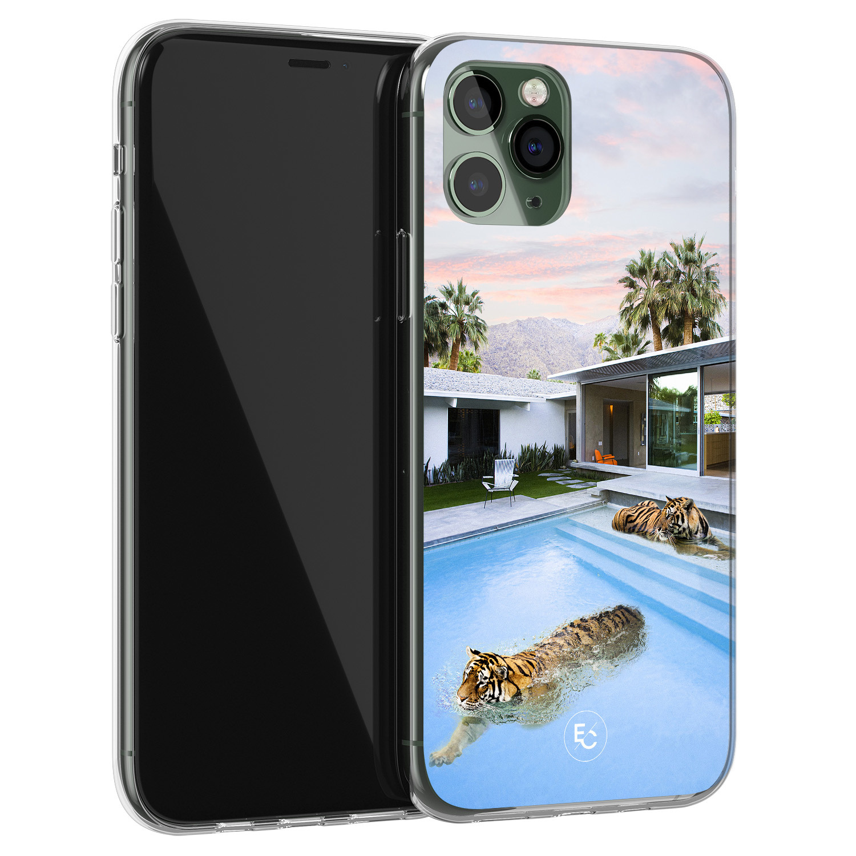 ELLECHIQ iPhone 11 Pro Max siliconen hoesje - Tiger pool