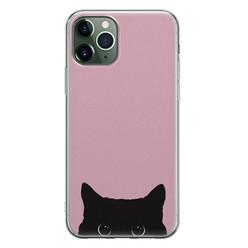 Telefoonhoesje Store iPhone 11 Pro Max siliconen hoesje - Zwarte kat