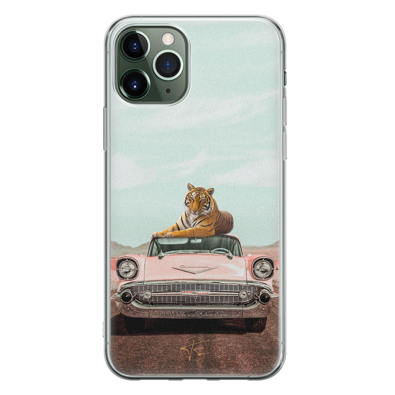 ELLECHIQ iPhone 11 Pro Max siliconen hoesje - Chill tijger