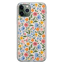 Telefoonhoesje Store iPhone 11 Pro Max siliconen hoesje - Romantische bloemen