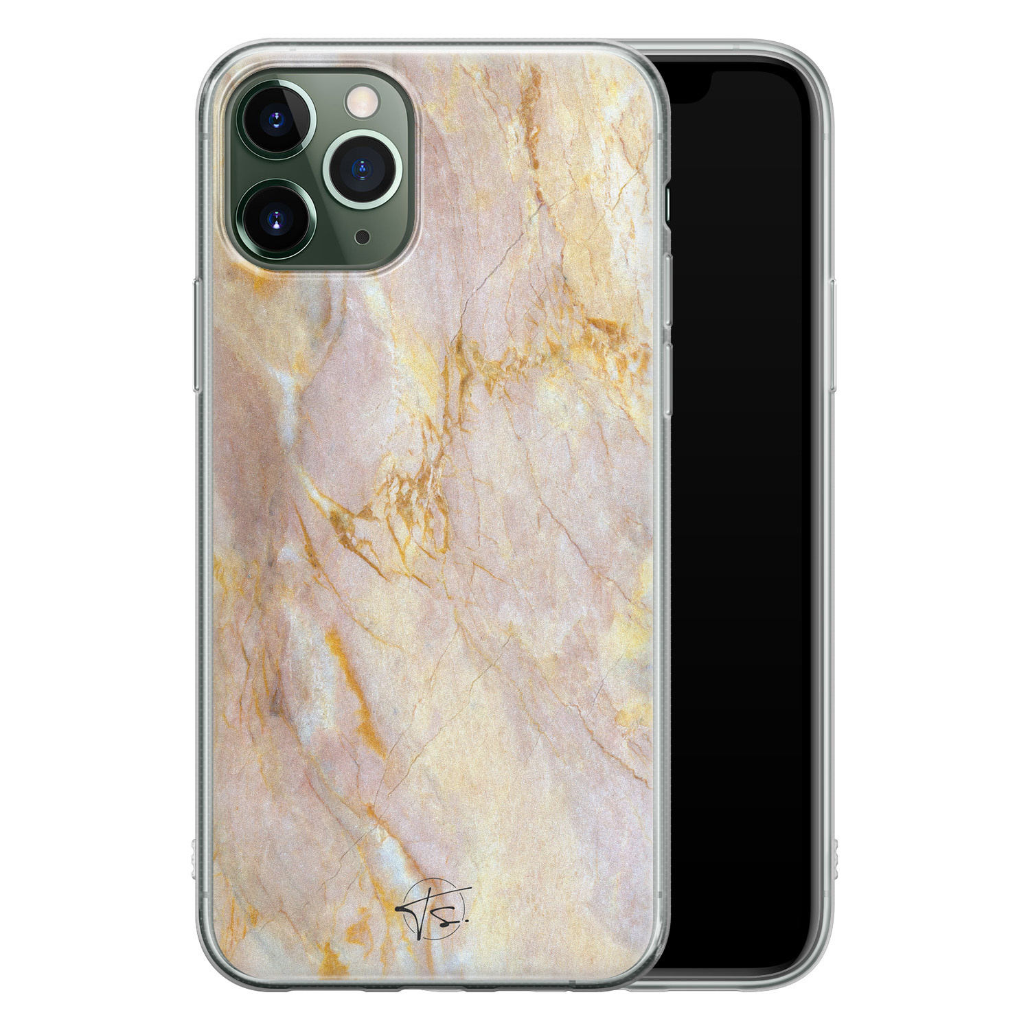 ELLECHIQ iPhone 11 Pro Max siliconen hoesje - Stay Golden Marble