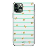 Telefoonhoesje Store iPhone 11 Pro Max siliconen hoesje - Mint hartjes