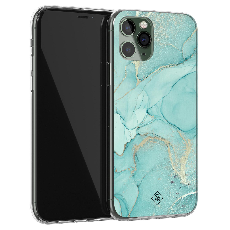 Casimoda iPhone 11 Pro Max siliconen hoesje - Marmer mintgroen