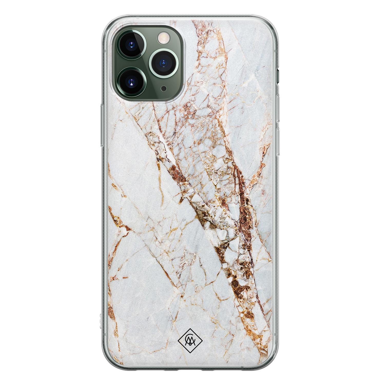 Casimoda iPhone 11 Pro Max siliconen hoesje - Goud marmer