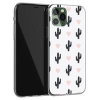 Leuke Telefoonhoesjes iPhone 11 Pro Max siliconen hoesje - Cactus hartjes