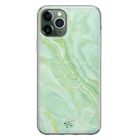 Telefoonhoesje Store iPhone 11 Pro Max siliconen hoesje - Marmer Limegroen