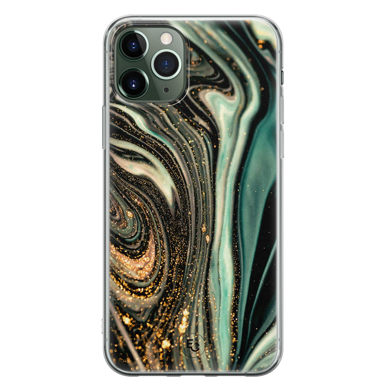 ELLECHIQ iPhone 11 Pro Max siliconen hoesje - Marble Khaki Swirl