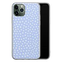 Telefoonhoesje Store iPhone 11 Pro Max siliconen hoesje - Lila stippen
