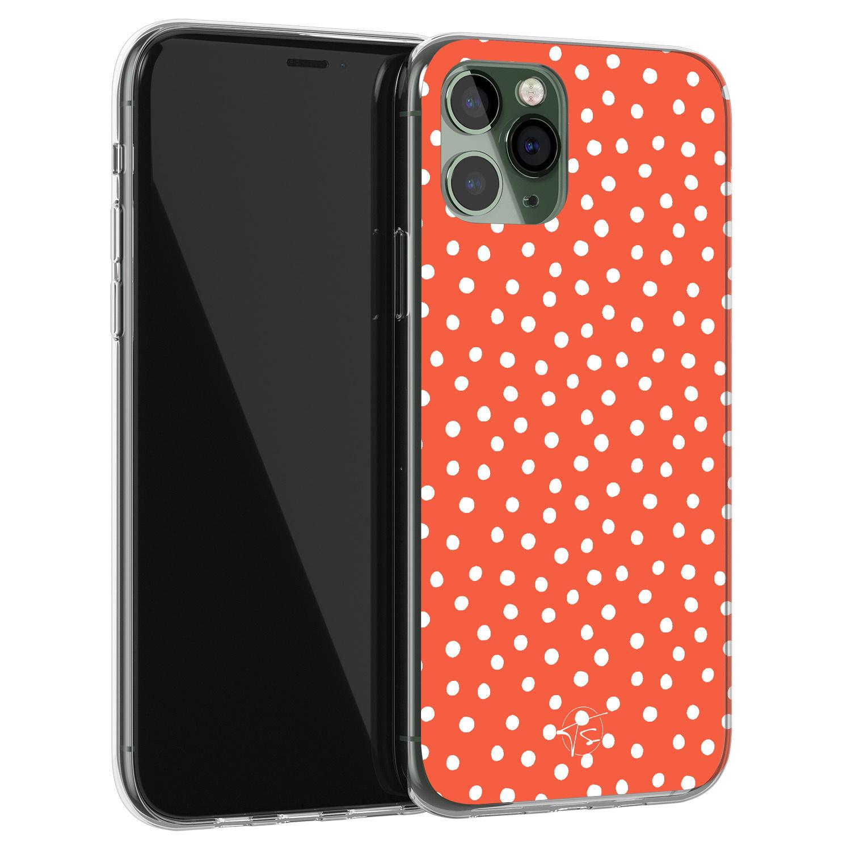 Telefoonhoesje Store iPhone 11 Pro Max siliconen hoesje - Oranje stippen