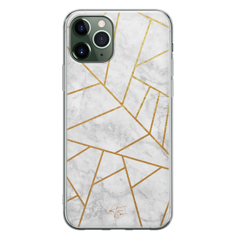 Telefoonhoesje Store iPhone 11 Pro Max siliconen hoesje - Geometrisch marmer