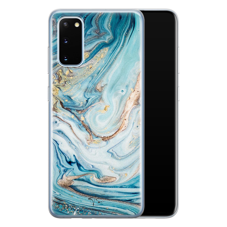 Telefoonhoesje Store Samsung Galaxy S20 siliconen hoesje - Marmer blauw goud