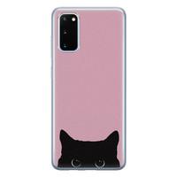 Telefoonhoesje Store Samsung Galaxy S20 siliconen hoesje - Zwarte kat
