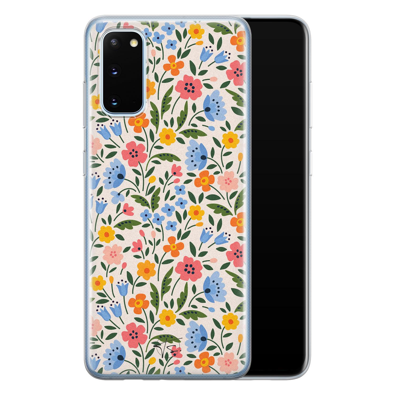 Telefoonhoesje Store Samsung Galaxy S20 siliconen hoesje - Romantische bloemen