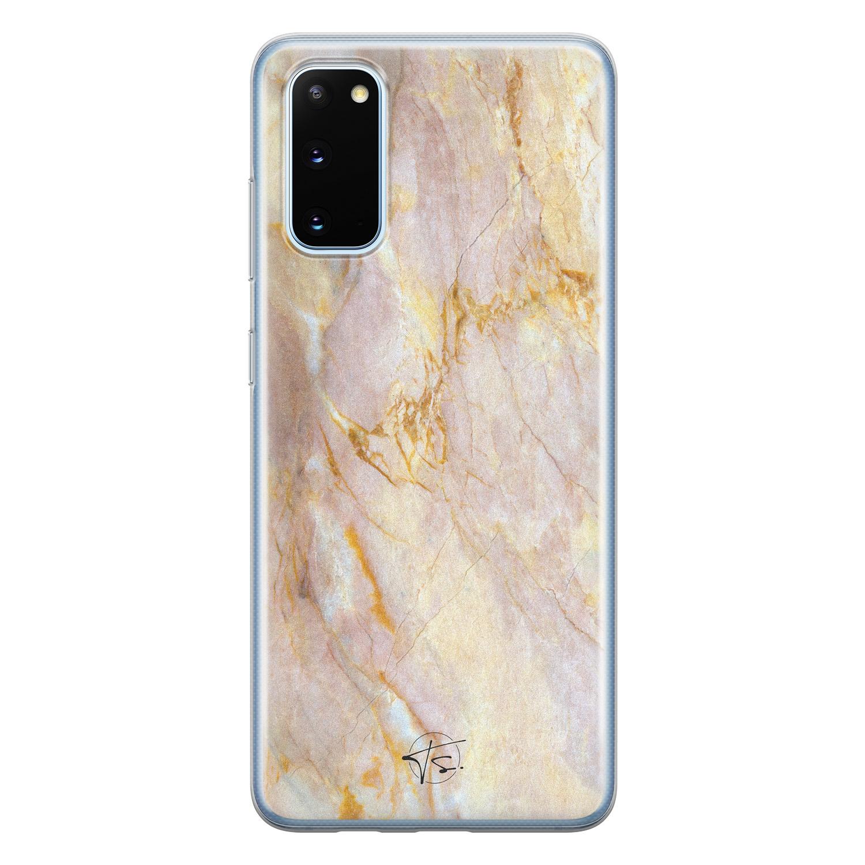 ELLECHIQ Samsung Galaxy S20 siliconen hoesje - Stay Golden Marble