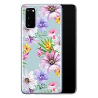 Telefoonhoesje Store Samsung Galaxy S20 siliconen hoesje - Mint bloemen