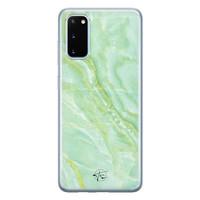 Telefoonhoesje Store Samsung Galaxy S20 siliconen hoesje - Marmer Limegroen