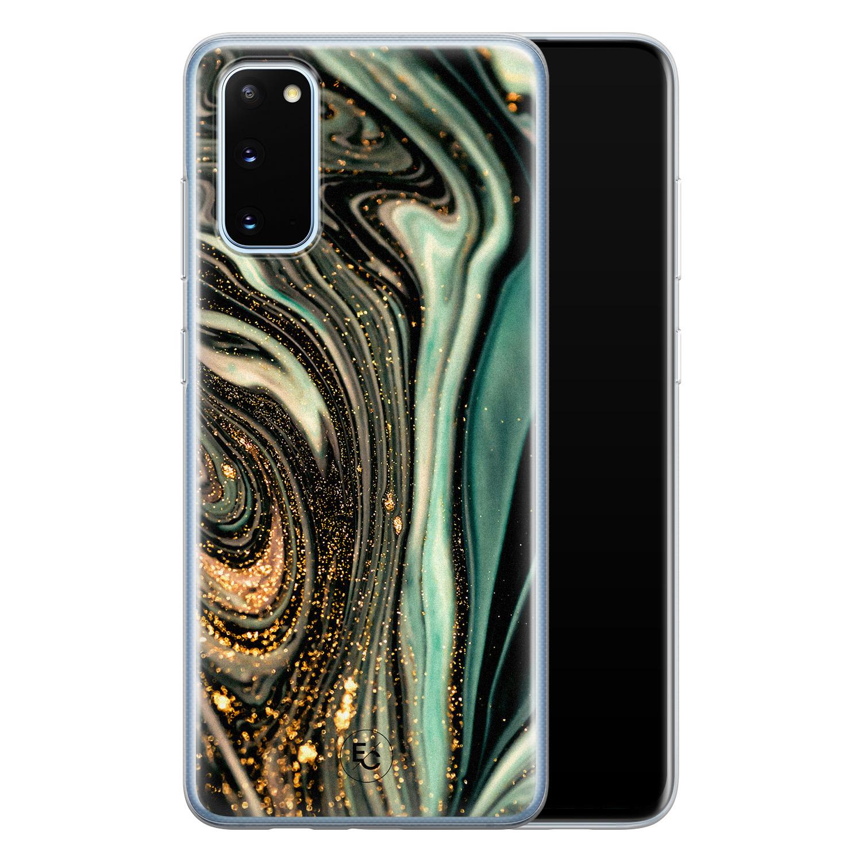 ELLECHIQ Samsung Galaxy S20 siliconen hoesje - Marble Khaki Swirl