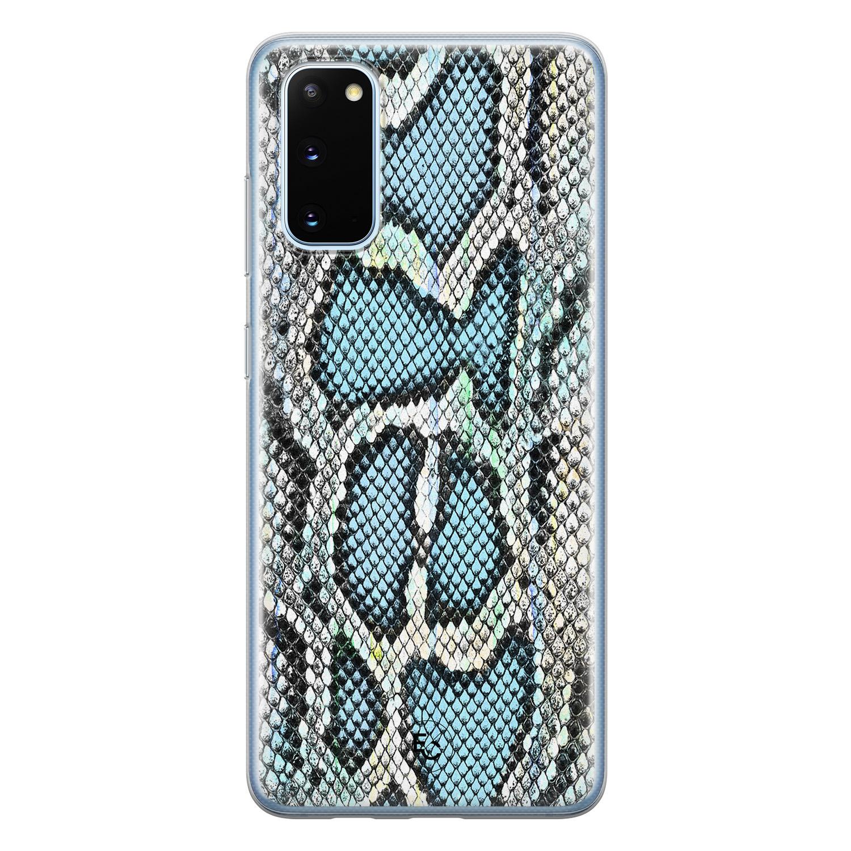 ELLECHIQ Samsung Galaxy S20 siliconen hoesje - Baby Snake blue