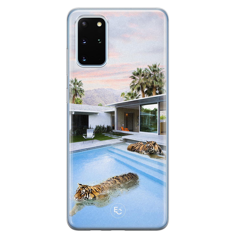 ELLECHIQ Samsung Galaxy S20 Plus siliconen hoesje - Tiger pool