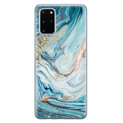 Telefoonhoesje Store Samsung Galaxy S20 Plus siliconen hoesje - Marmer blauw goud