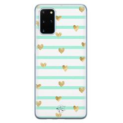 Telefoonhoesje Store Samsung Galaxy S20 Plus siliconen hoesje - Mint hartjes