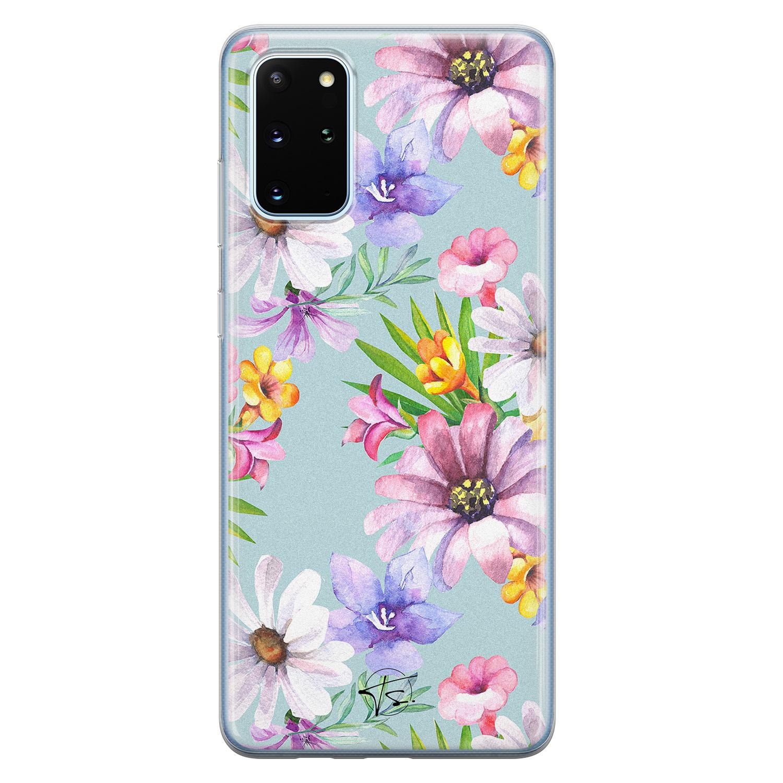 Telefoonhoesje Store Samsung Galaxy S20 Plus siliconen hoesje - Mint bloemen