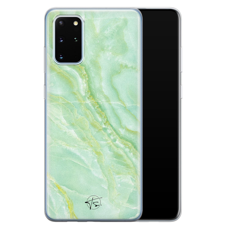 Telefoonhoesje Store Samsung Galaxy S20 Plus siliconen hoesje - Marmer Limegroen