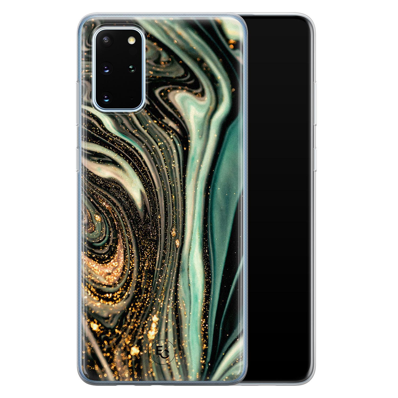 ELLECHIQ Samsung Galaxy S20 Plus siliconen hoesje - Marble Khaki Swirl