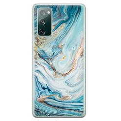Telefoonhoesje Store Samsung Galaxy S20 FE siliconen hoesje - Marmer blauw goud