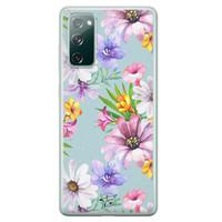 Telefoonhoesje Store Samsung Galaxy S20 FE siliconen hoesje - Mint bloemen