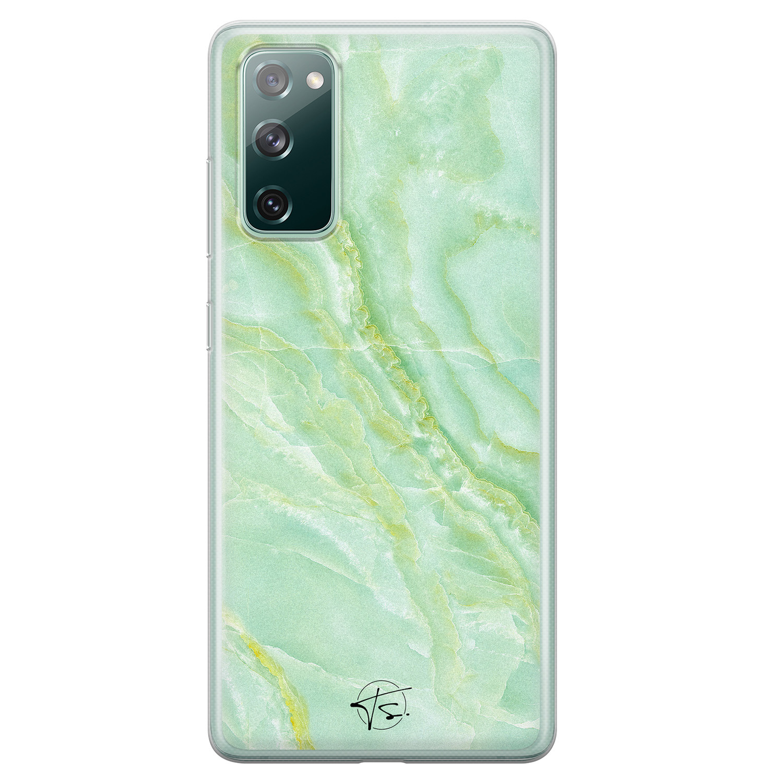 Telefoonhoesje Store Samsung Galaxy S20 FE siliconen hoesje - Marmer Limegroen