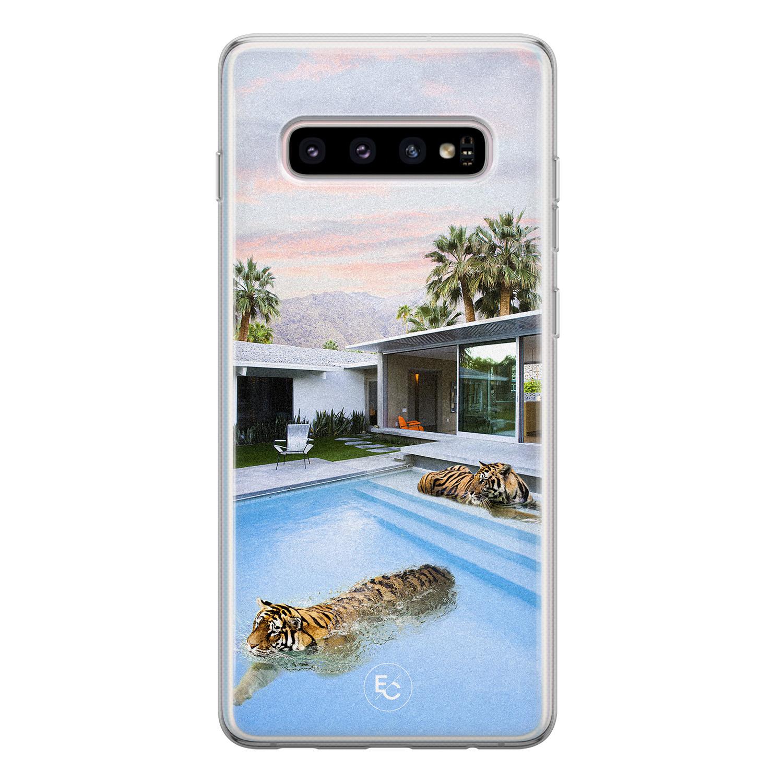 ELLECHIQ Samsung Galaxy S10 siliconen hoesje - Tiger pool