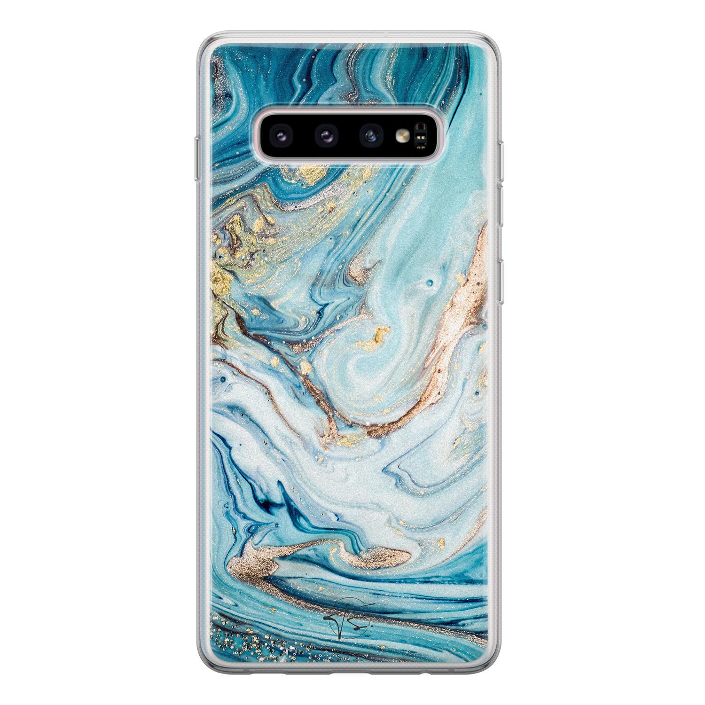 Telefoonhoesje Store Samsung Galaxy S10 siliconen hoesje - Marmer blauw goud