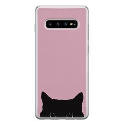 Telefoonhoesje Store Samsung Galaxy S10 siliconen hoesje - Zwarte kat