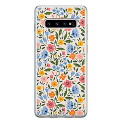 Telefoonhoesje Store Samsung Galaxy S10 siliconen hoesje - Romantische bloemen