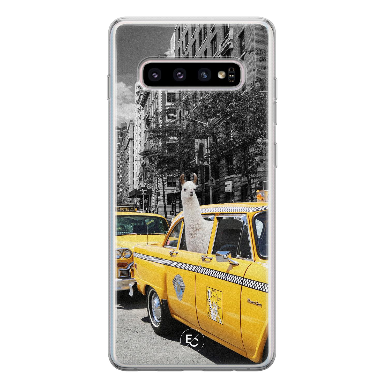 ELLECHIQ Samsung Galaxy S10 siliconen hoesje - Lama in taxi