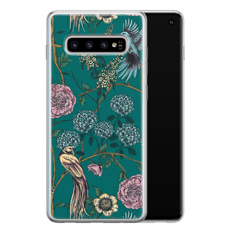 Telefoonhoesje Store Samsung Galaxy S10 siliconen hoesje - Bloomy birds