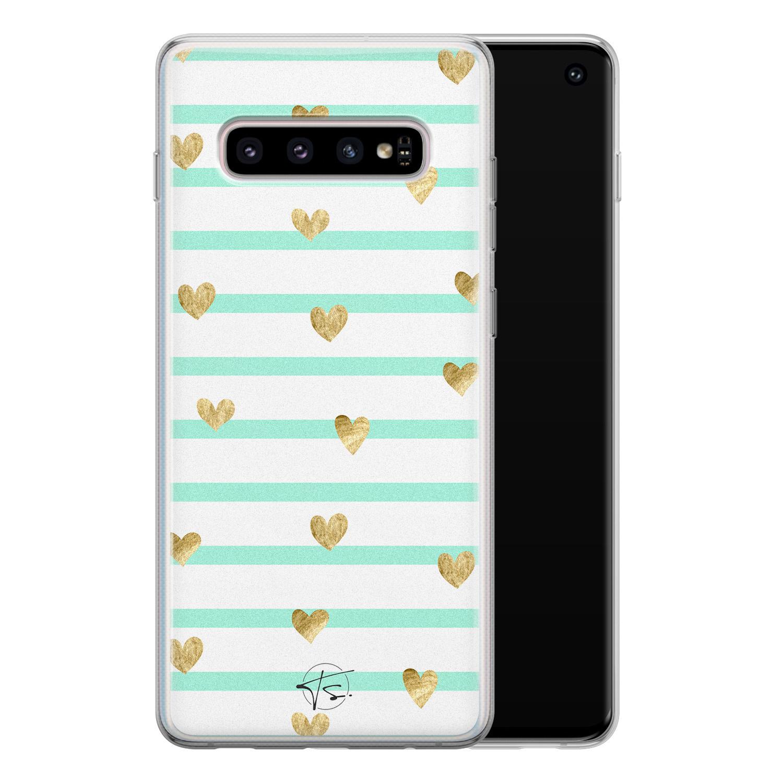 Telefoonhoesje Store Samsung Galaxy S10 siliconen hoesje - Mint hartjes