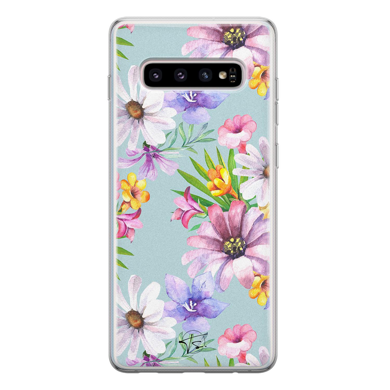 Telefoonhoesje Store Samsung Galaxy S10 siliconen hoesje - Mint bloemen